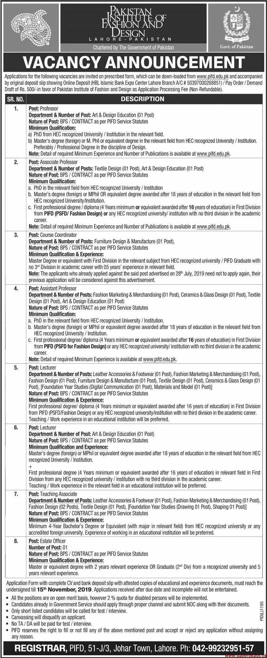 Lecturer Jobs In Pakistan Institute Of Fashion And Design Pifd