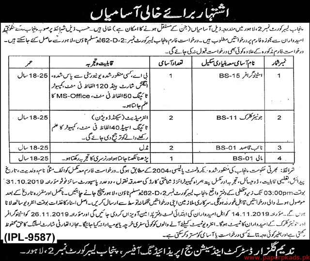 Punjab Labours Courts Jobs 2019 Latest