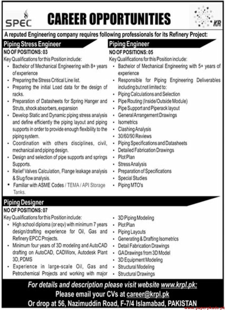 SPEC Reputed Engineering Company Jobs 2019 Latest