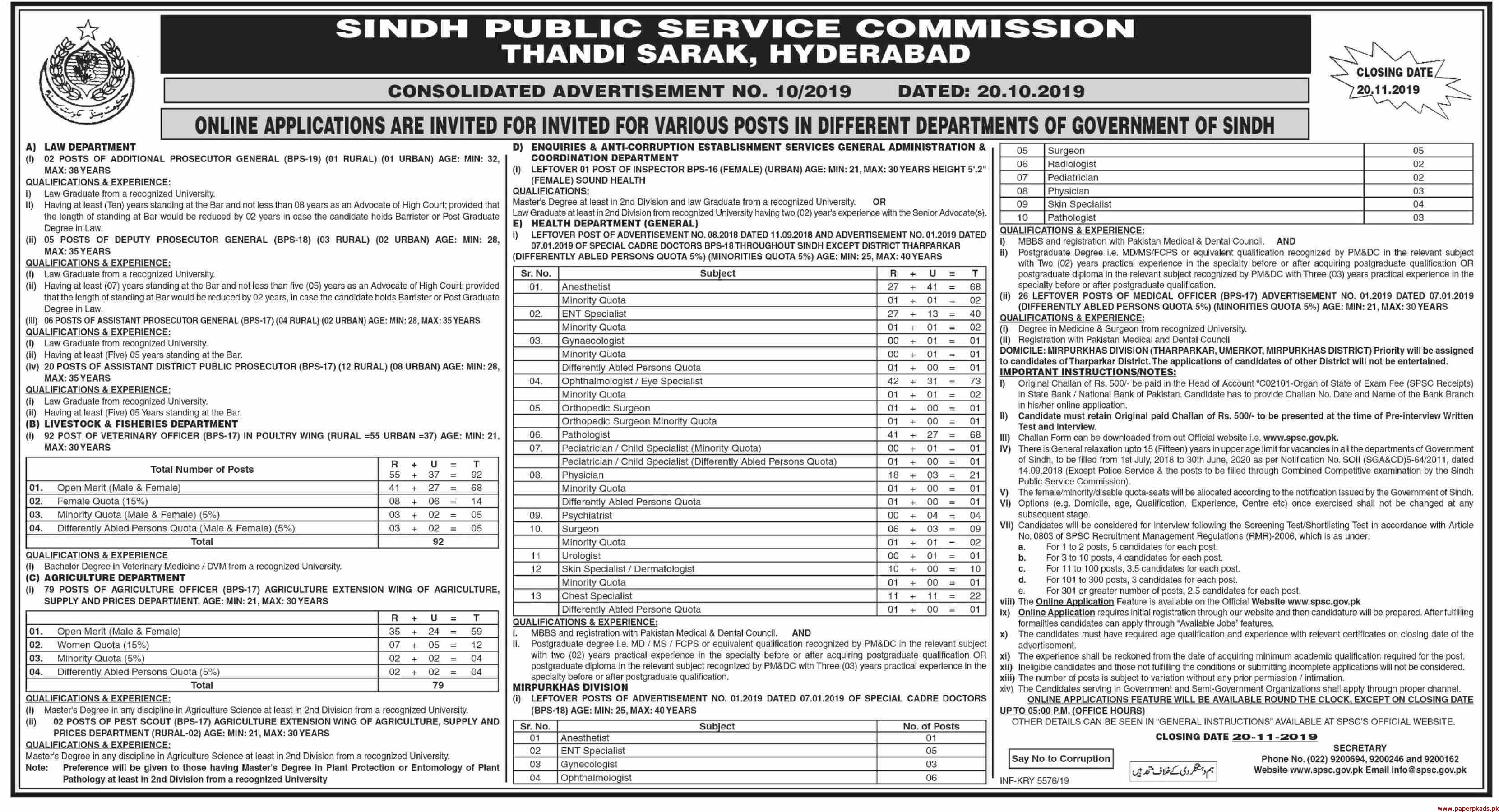 Sindh Public Service Commission SPSC Jobs 2019 Latest