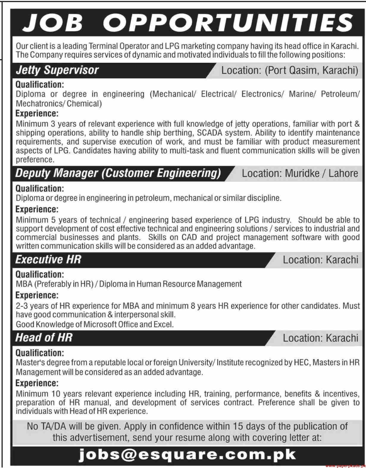 Terminal Operator and LPG Marketing Company Jobs 2019 Latest