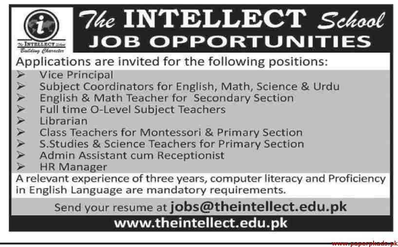 The Intellect School Jobs 2019 Latest