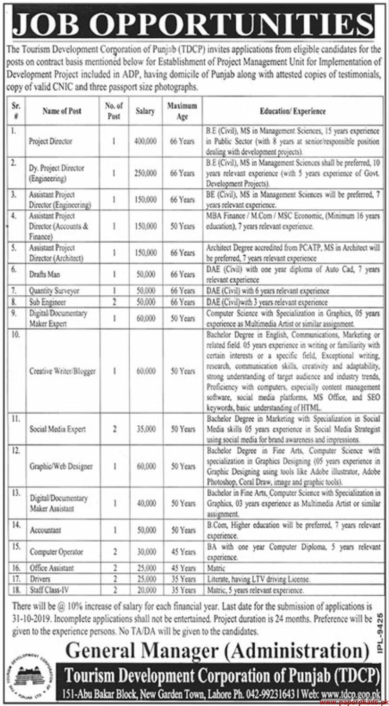 The Tourism Development Corporation of Punjab TDCP Latest Jobs 2019