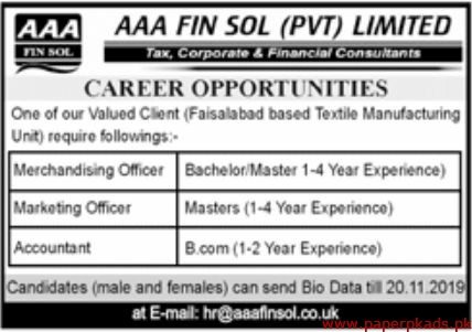 AAA Fin Sol Pvt Limited Jobs 2019 Latest