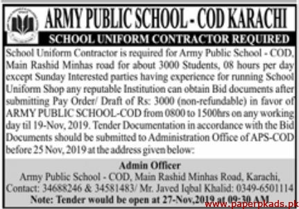 Army Public School Karachi Latest Jobs 2019