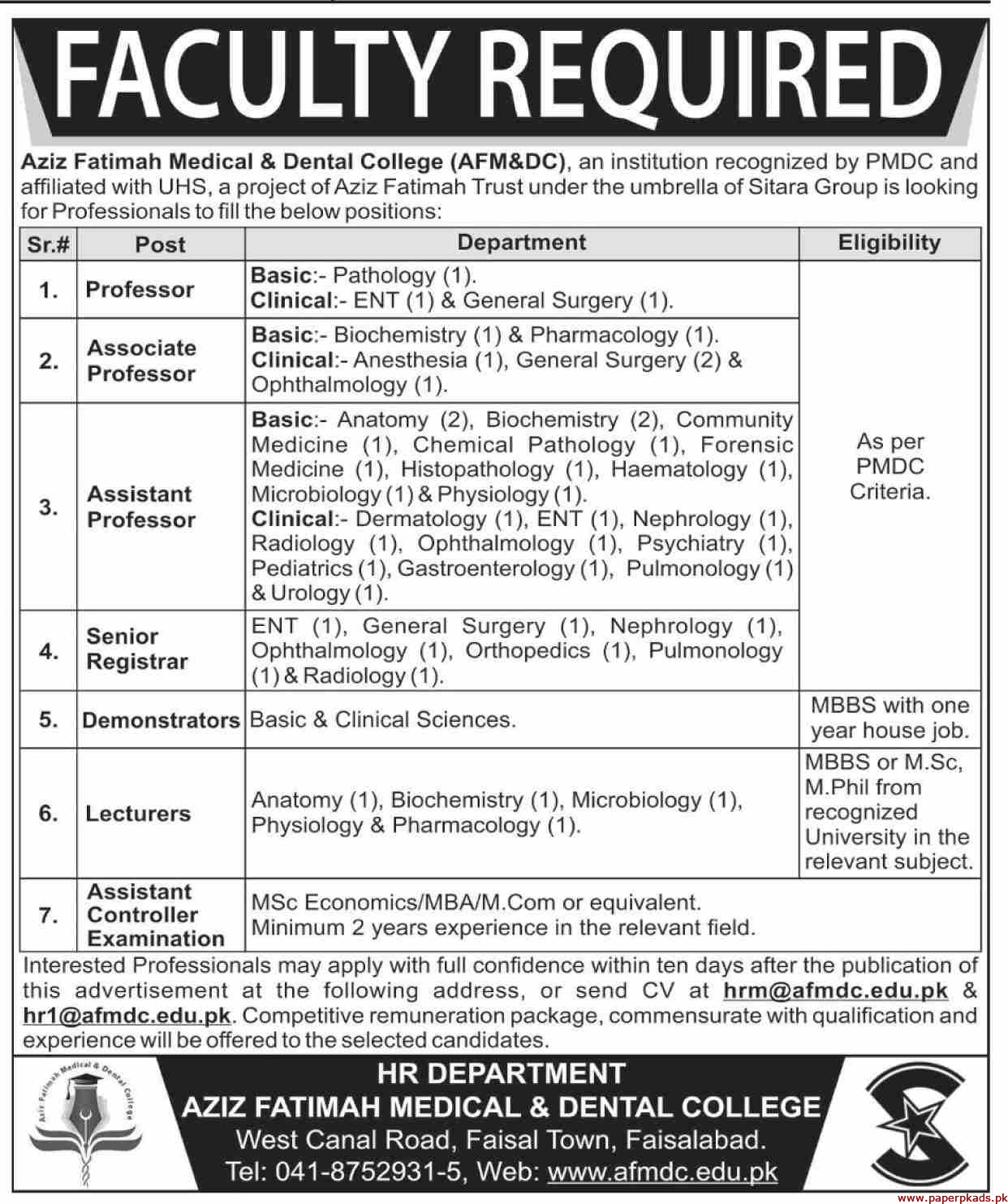 Aziz Fatimah Medical & Dental College Jobs 2019 Latest