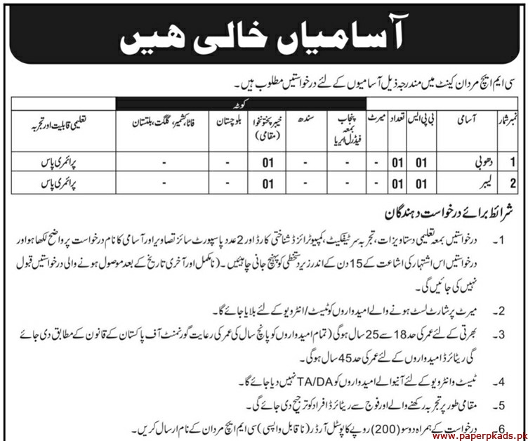 CMH Mardan Jobs 2019 Latest