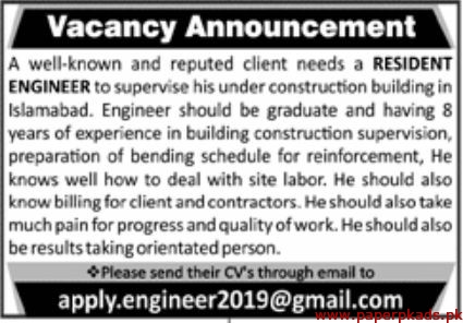 Construction Building Islamabad Staff Required