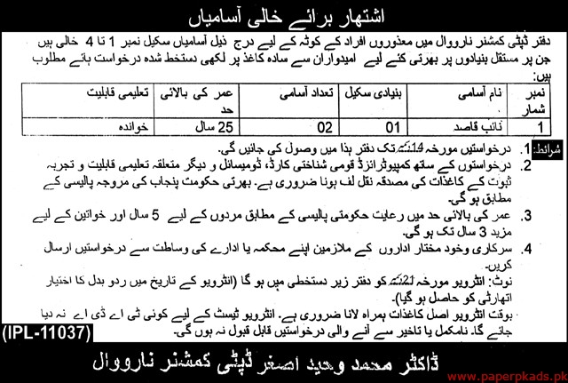 Deputy Commissioner Narowal Jobs 2019 Latest