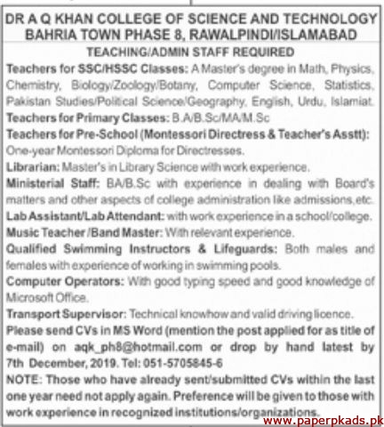 Dr AQ Khan College of Science and Technology Jobs 2019 Latest