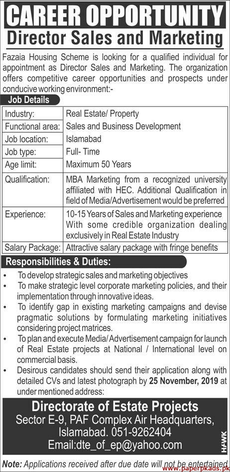 Fazaia Housing Scheme Jobs 2019 Latest