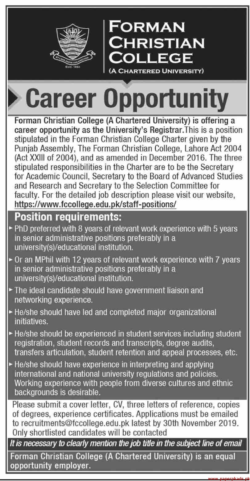 Forman Christian College Jobs 2019 Latest