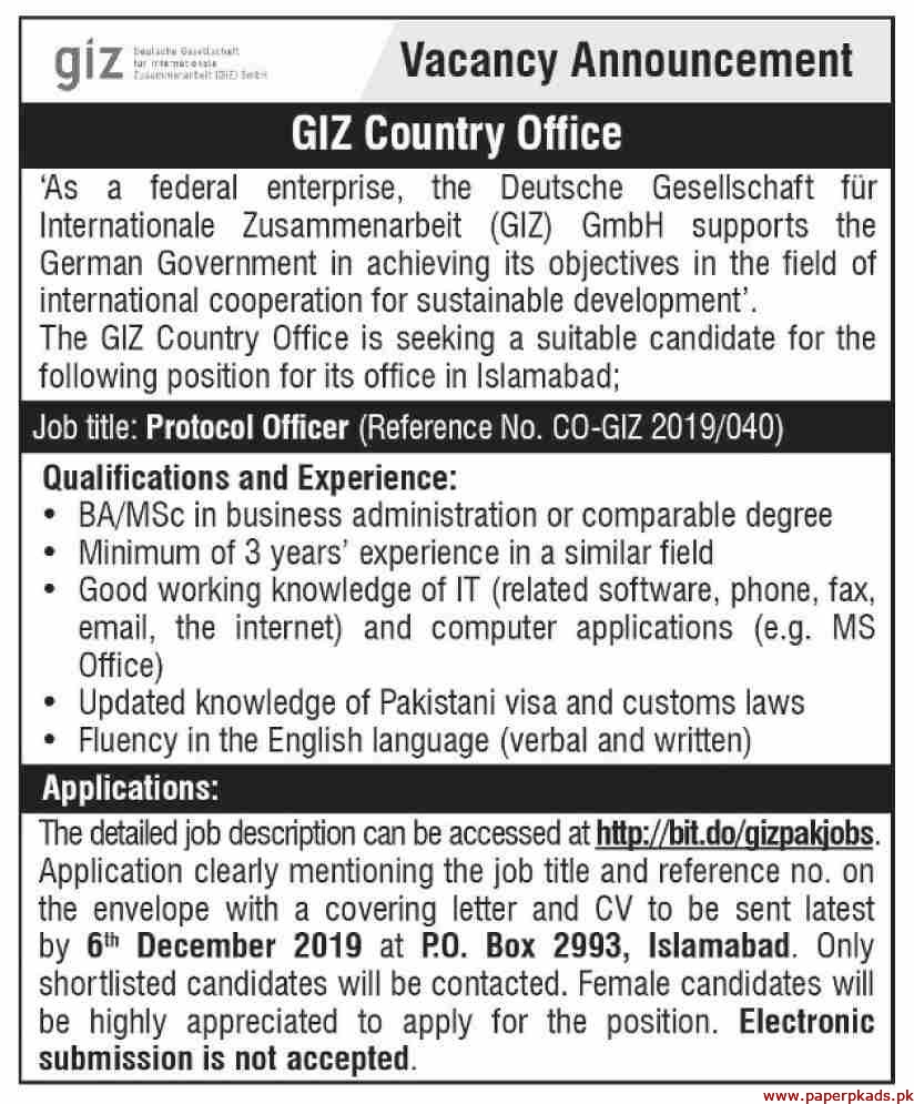GIZ Country Office Jobs 2019 Latest