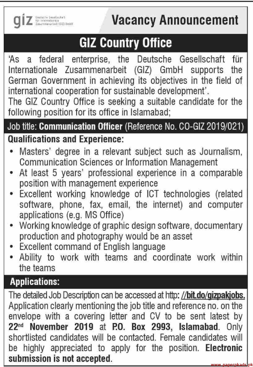 GIZ Country Office Latest Jobs 2019