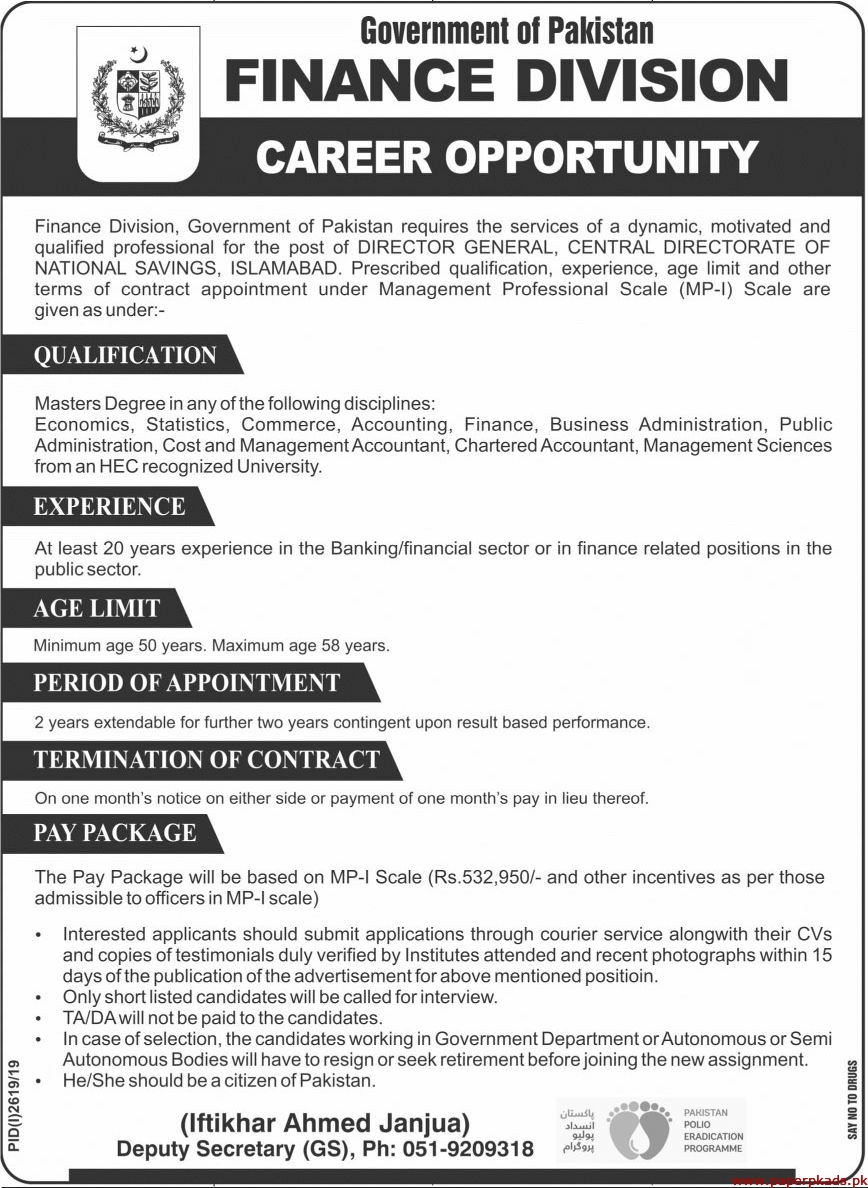 Government of Pakistan Finance Division Jobs 2019 Latest
