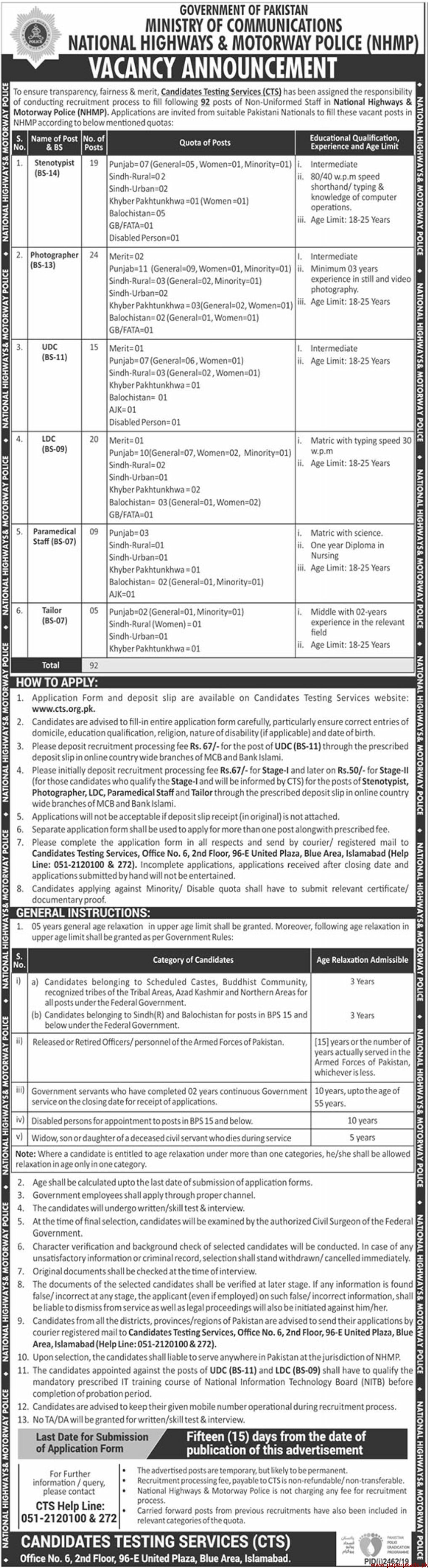 Government of Pakistan Ministry of Communications National Highways & Motorway Police NHMP Jobs 2019 Latest