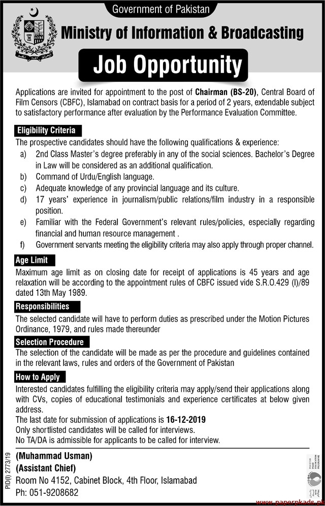 Government of Pakistan Ministry of Information & Broadcasting Jobs 2019 Latest