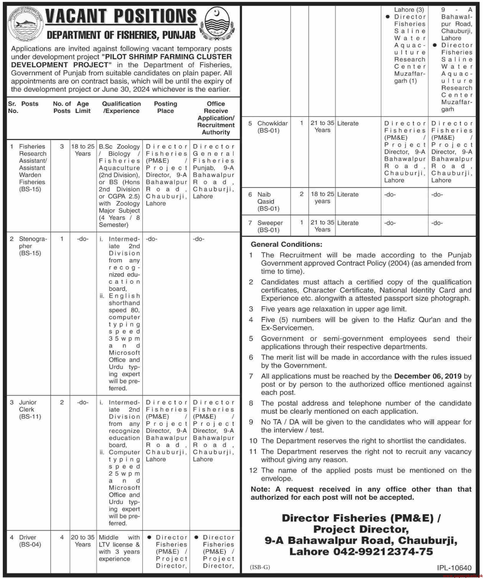 Government of the Punjab Department of Fisheries Jobs 2019 Latest