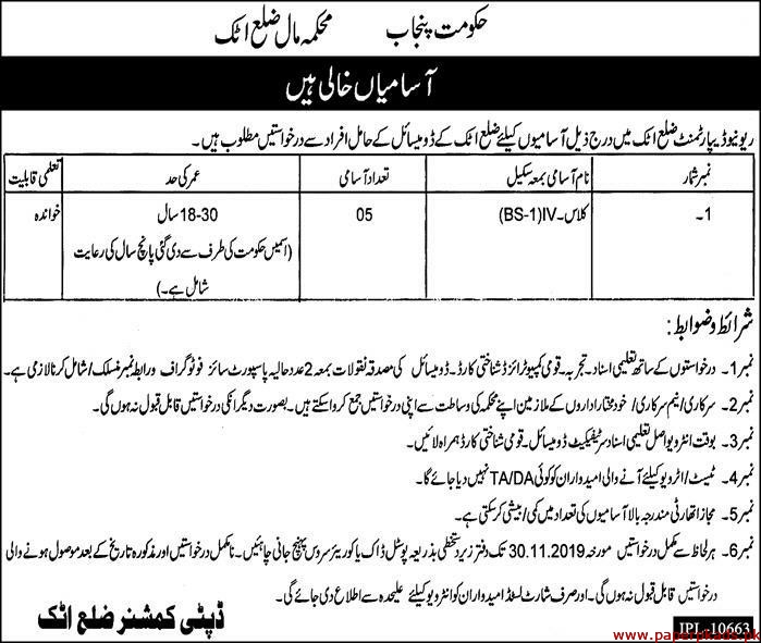 Government of the Punjab Revenue Department Jobs 2019 Latest