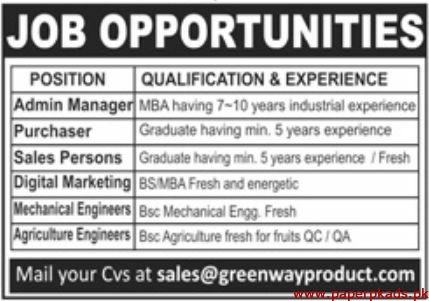 Green Way Products Jobs 2019 Latest