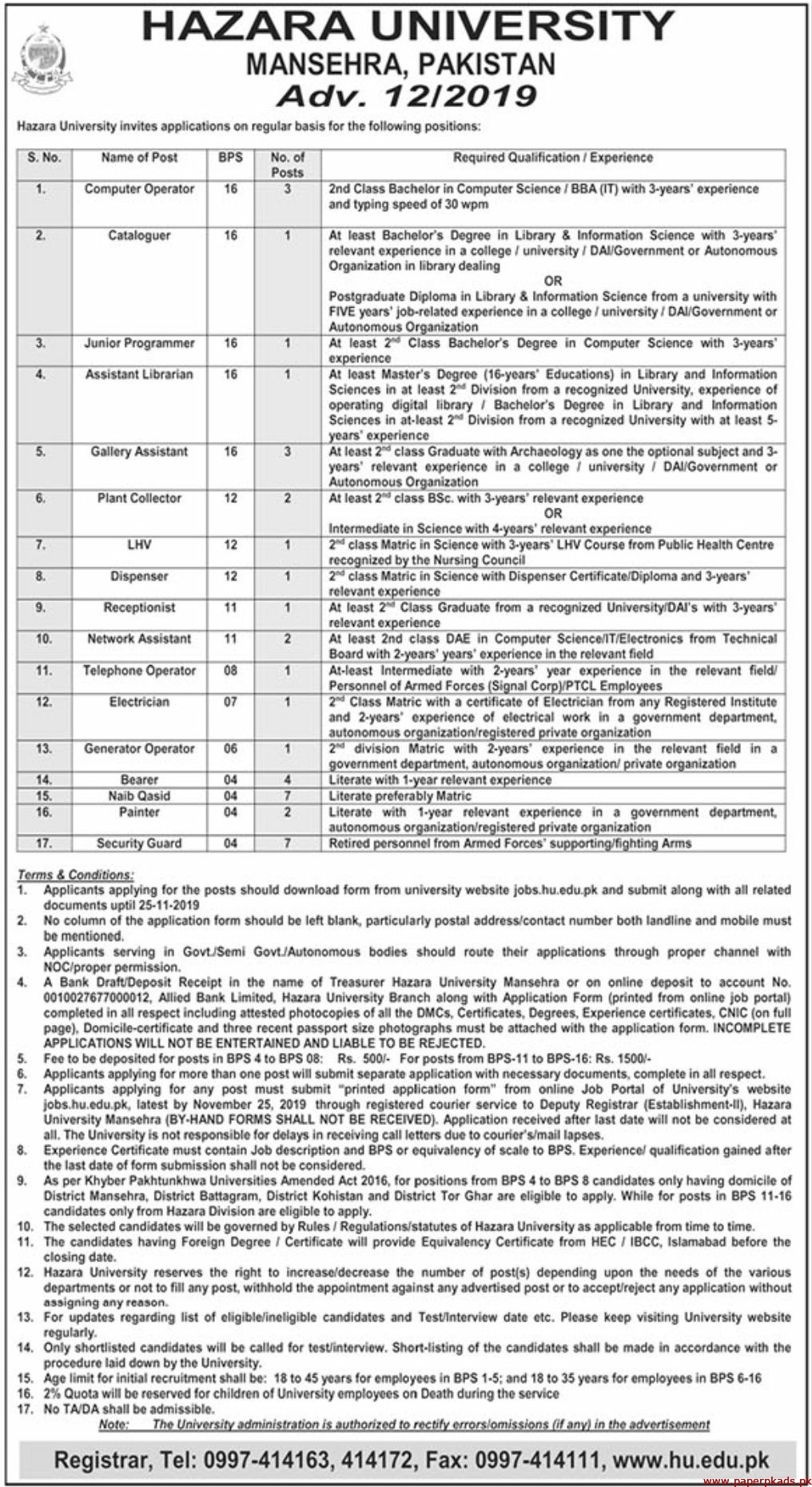 HAZARA University Mansehra Pakistan Jobs 2019 Latest