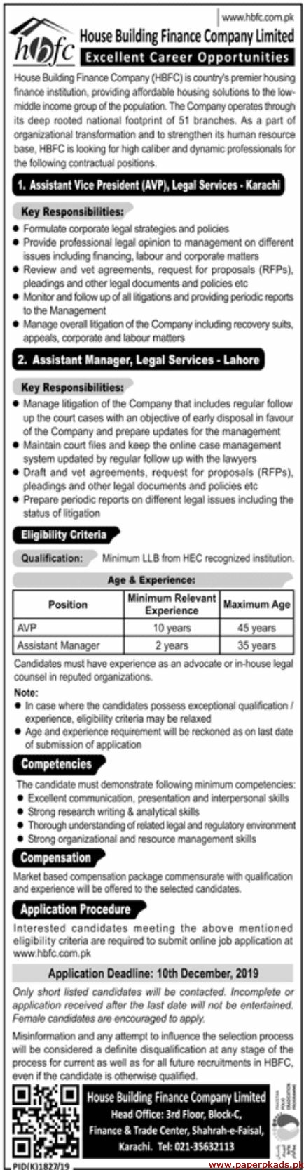 House Building Finance Company Limited HBFC Jobs 2019 Latest