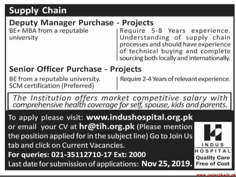 Indus Hospital Jobs 2019 Latest