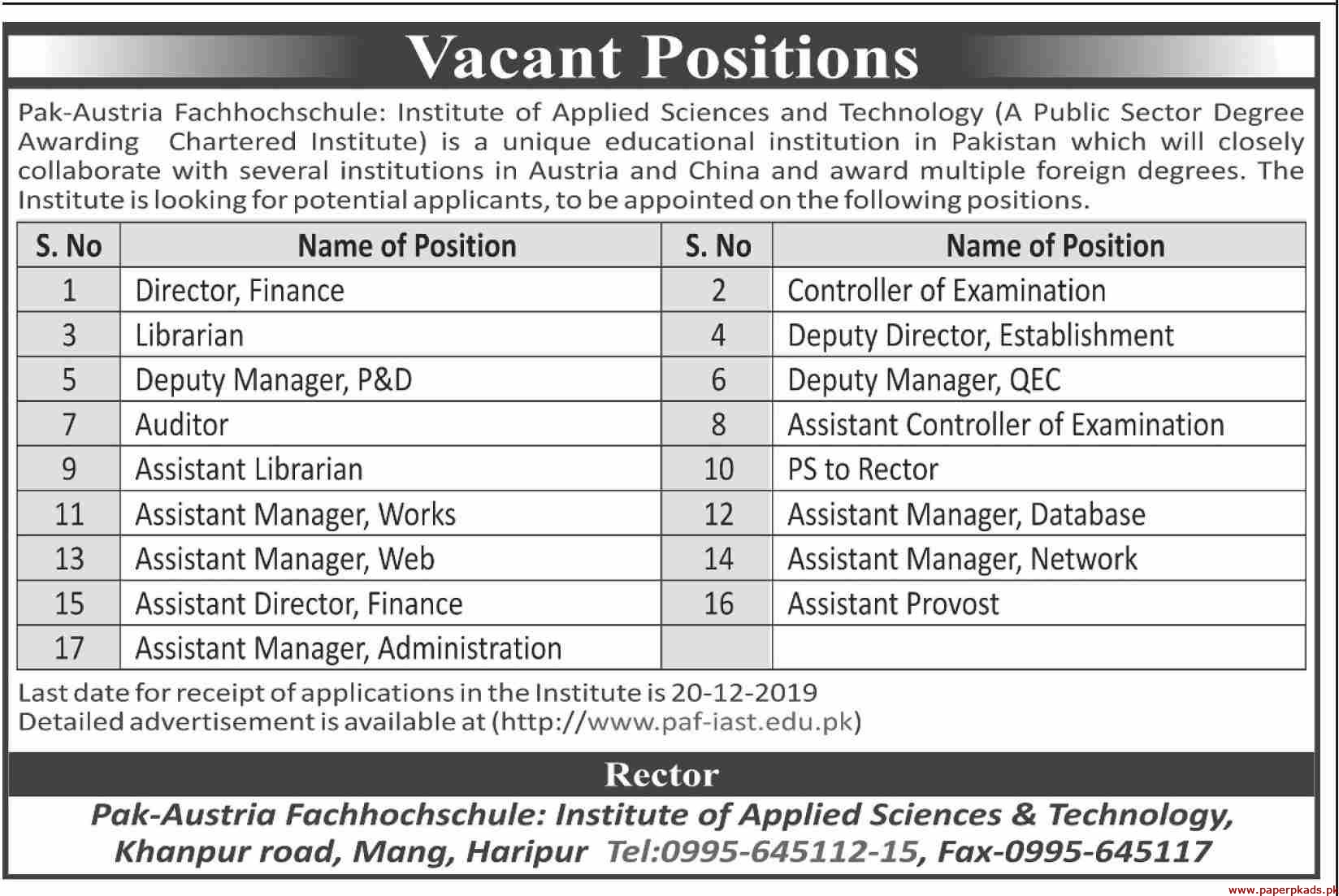 Institute of Applied Sciences and Technology Jobs 2019 Latest