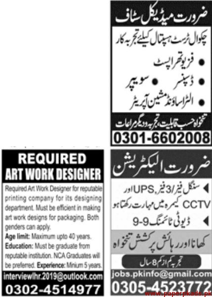 Jang Newspaper Latest 10 November 2019 Jobs