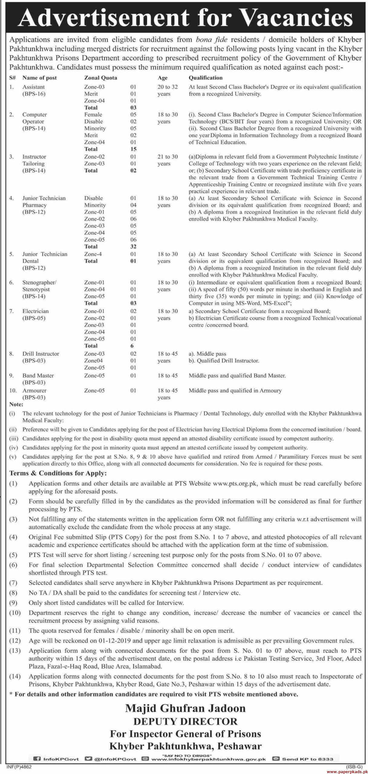 Khyber Pakhtunkhwa Prisons Department Jobs 2019 Latest
