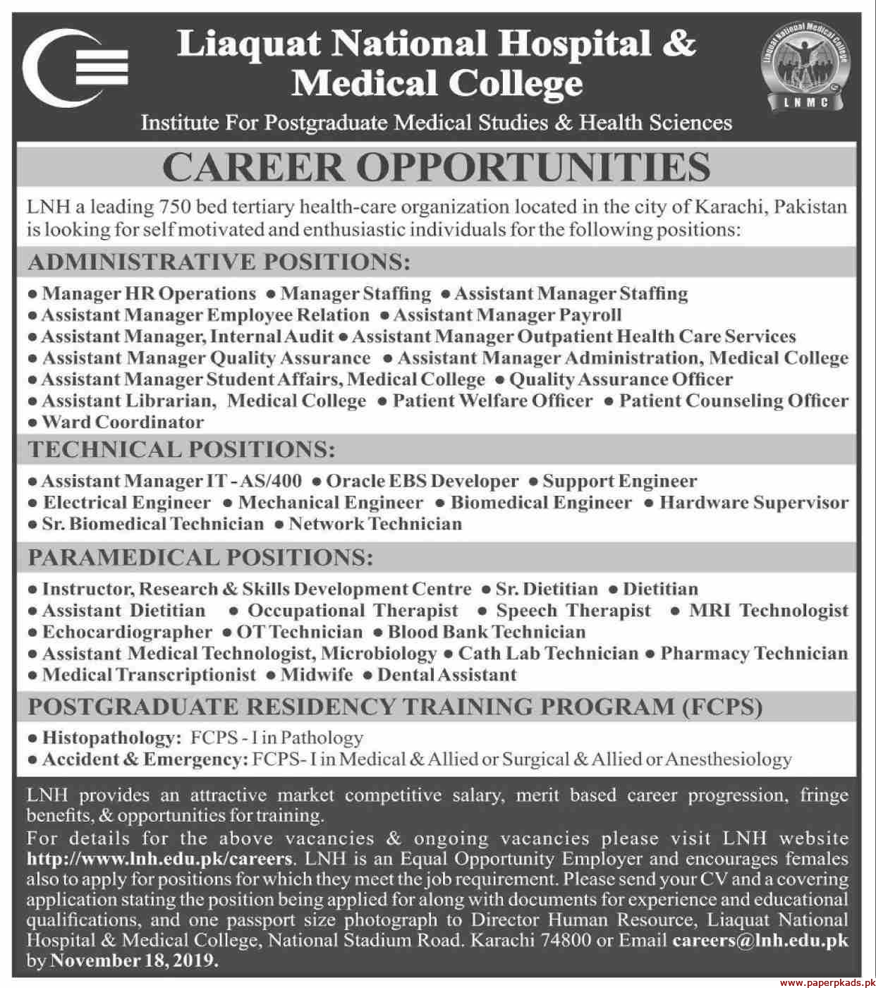 Liaquat National Hospital & Medical LNM College Jobs 2019 Latest