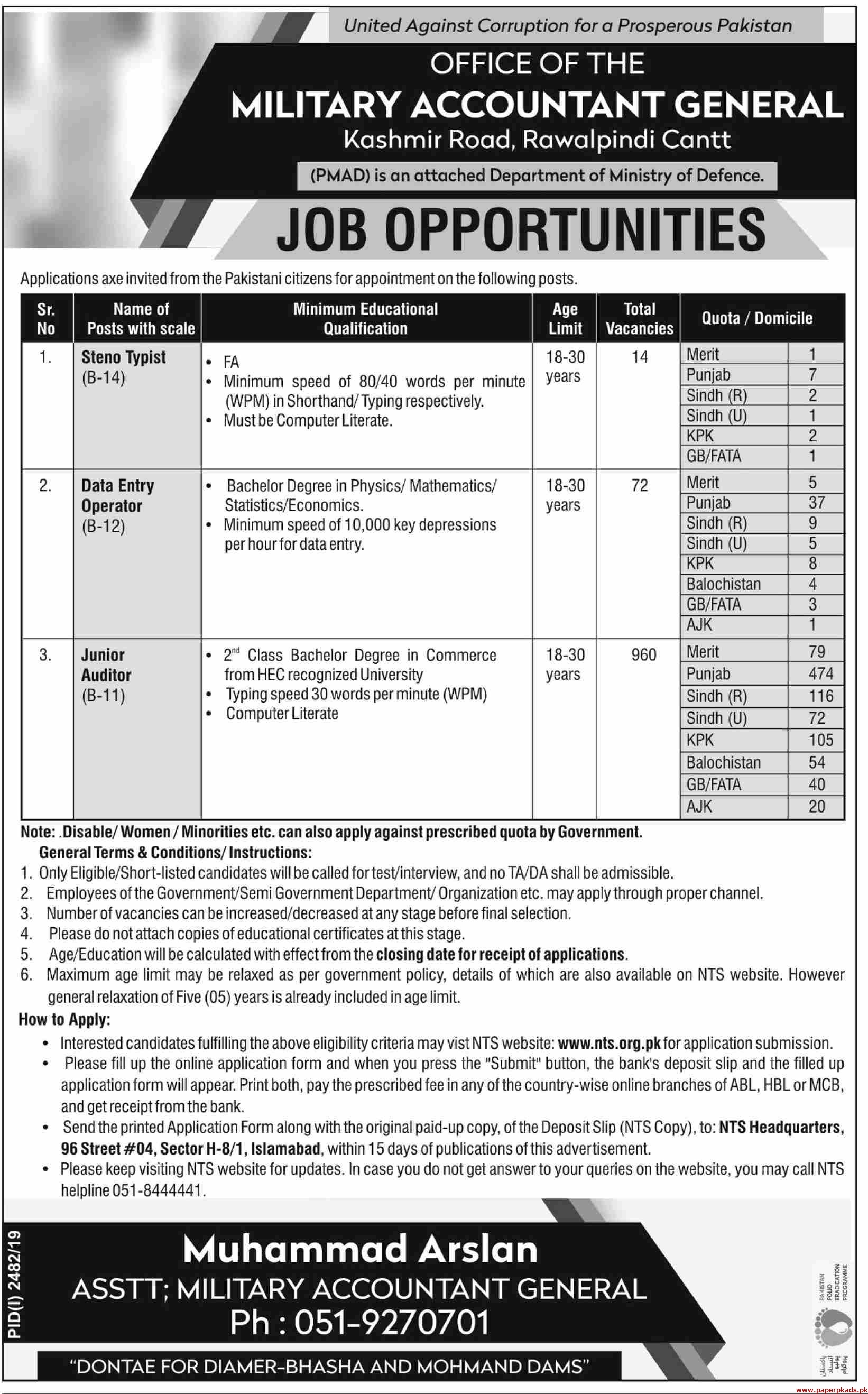 Military Accountant General Jobs 2019 Latest