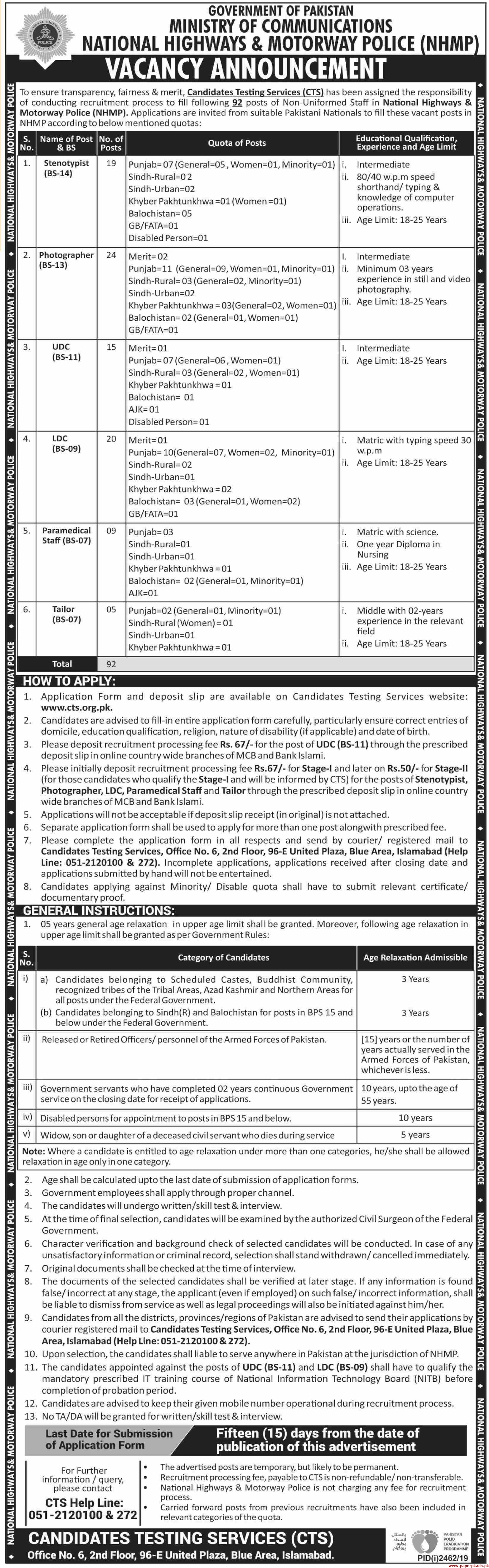 NH&MP National Highways & Motorway Police Jobs 2019 Latest