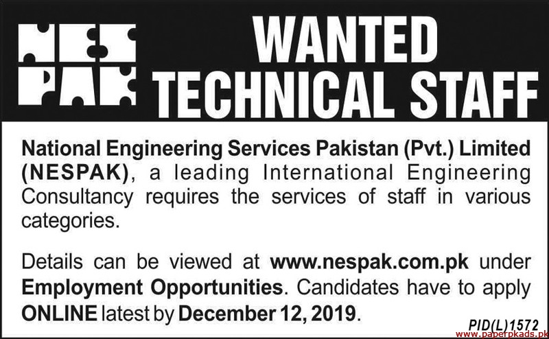 National Engineering Services Pakistan Pvt Limited NESPAK Jobs 2019 Latest