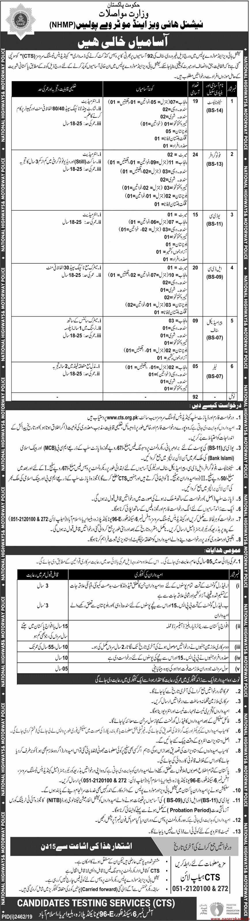 National Highways & Motorway Police (NHMP) Jobs 2019 Latest via CTS