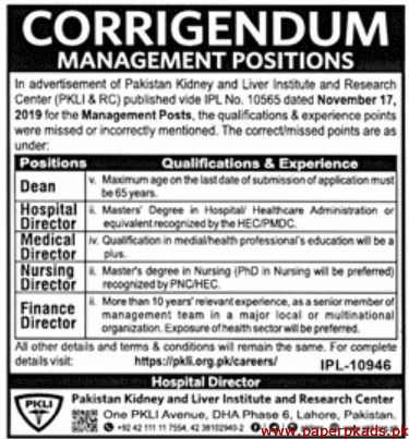 Pakistan Kidney and Liver Institute and Research Center Jobs 2019 Latest