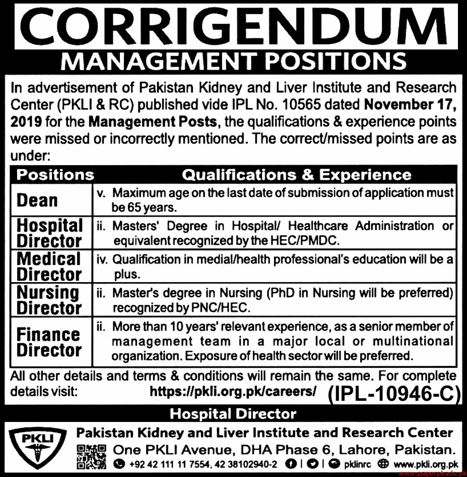 Pakistan Kidney and Liver Institute and Research Center PKLI&RC jobs 2019 Latest