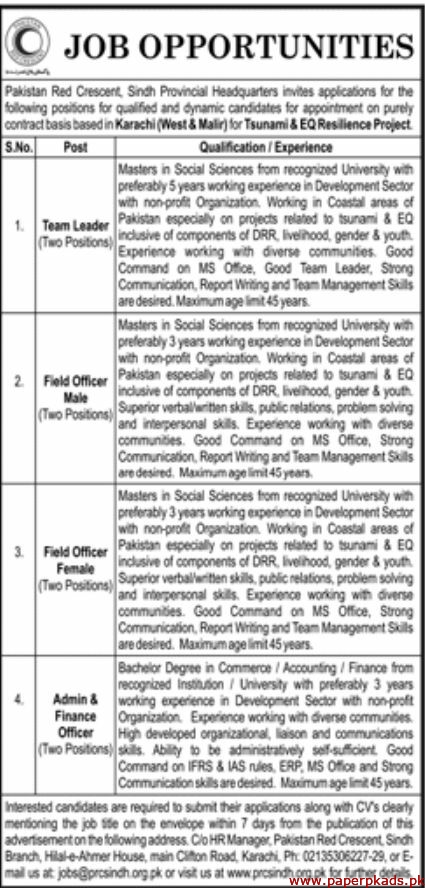 Pakistan Red Crescent Sindh Jobs 2019 Latest