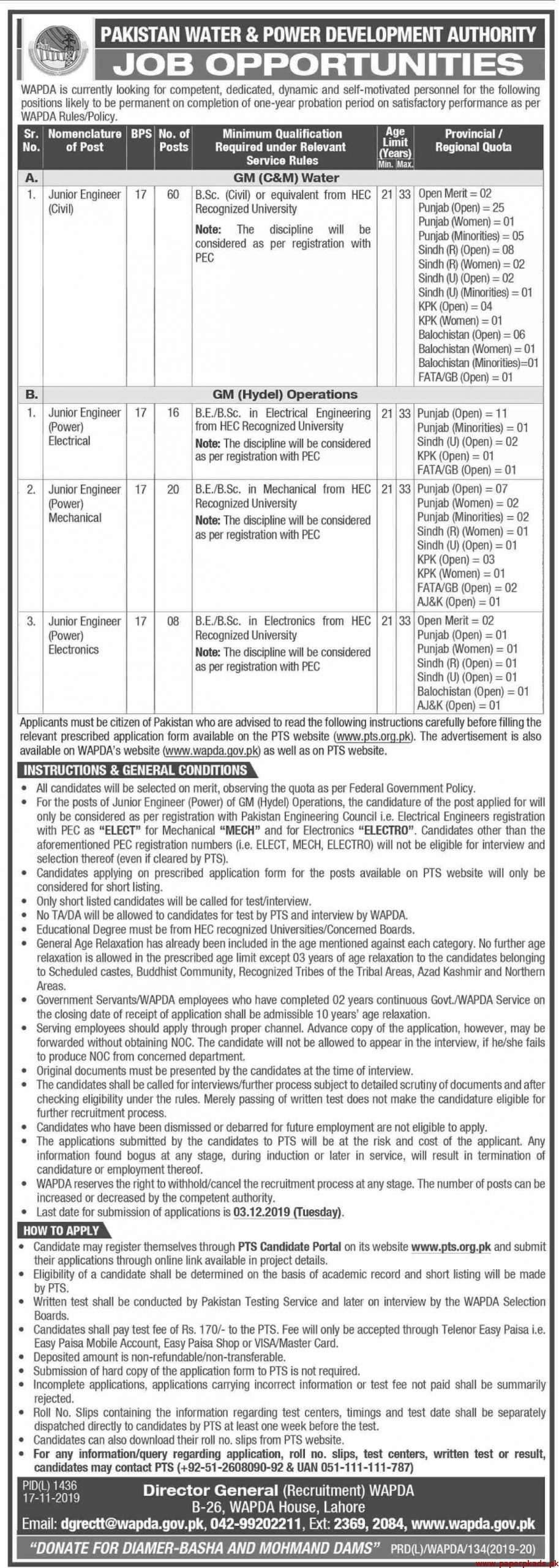 Pakistan Water & Power Development Authority WAPDA Jobs 2019 Latest
