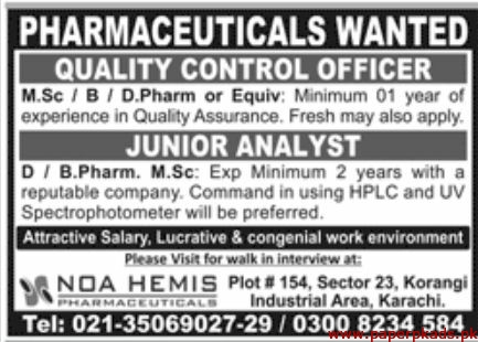 Pharmaceuticals Staff Required