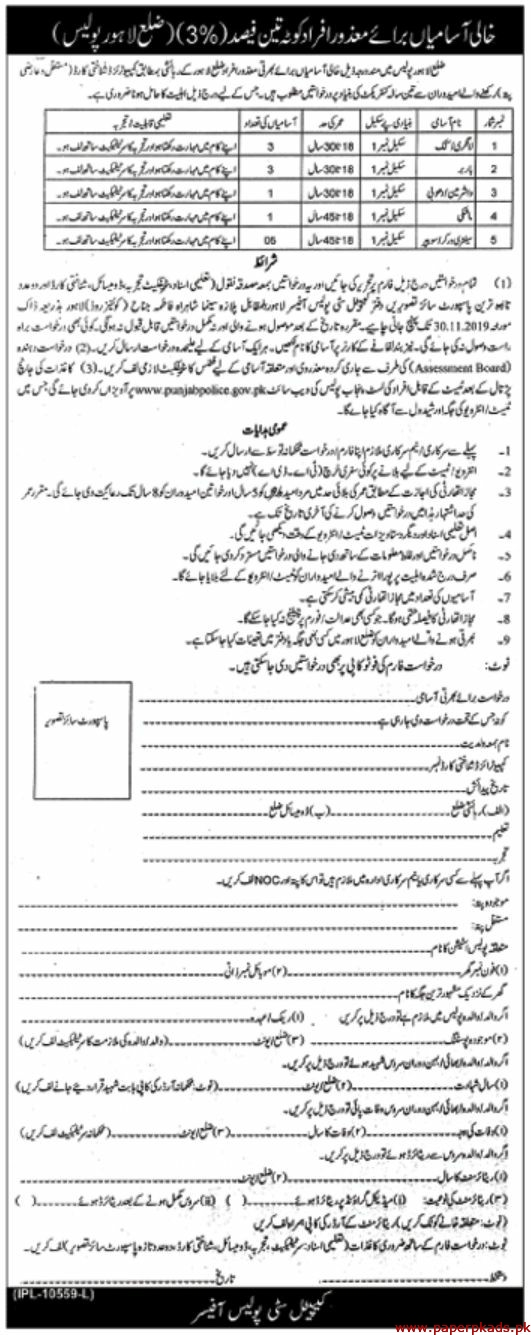 Police Department Lahore Jobs 2019 Latest