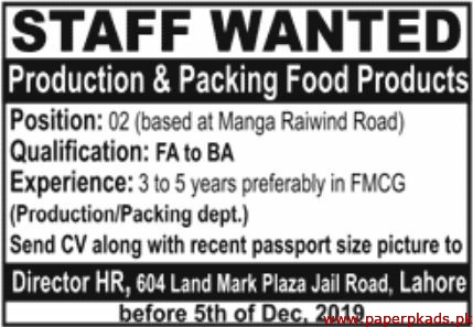 Production & Packing Food Products Jobs 2019 Latest
