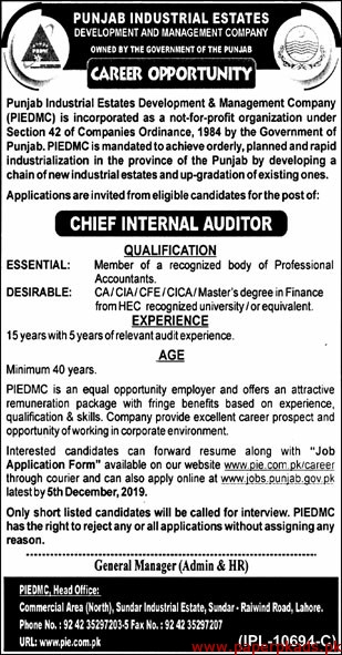 Punjab Industrial Estates Development & Management Company (PIEDMC) Jobs 2019 Latest