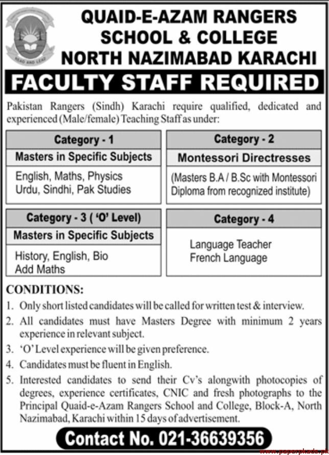 Quaid-e-Azam Rangers School & College Jobs 2019 Latest