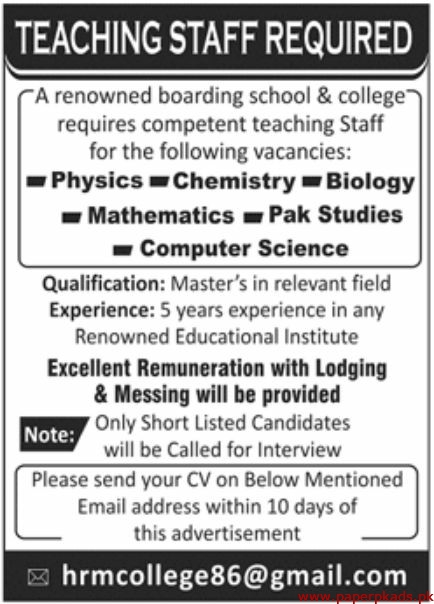 Renowned Boarding School & College Jobs 2019 Latest