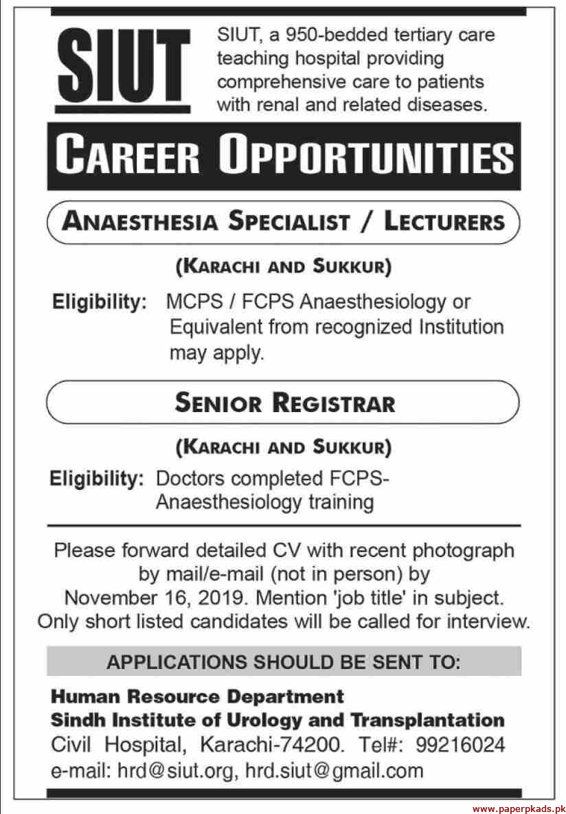 Sindh Institute of Urology and Transplantation SIUT Jobs 2019 Latest