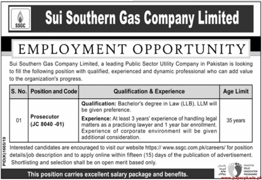 Sui Southern Gas Company Limited (SSGC) Jobs 2019 Latest