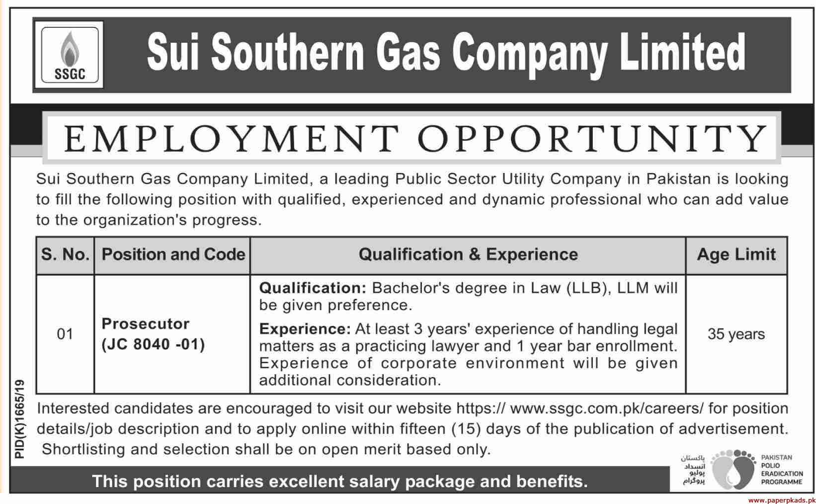 Sui Southern Gas Company (SSGC) Limited Jobs 2019 Latest