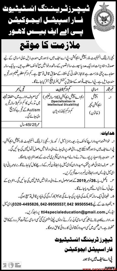 Teachers Training Institute for Special Education Jobs 2019 Latest