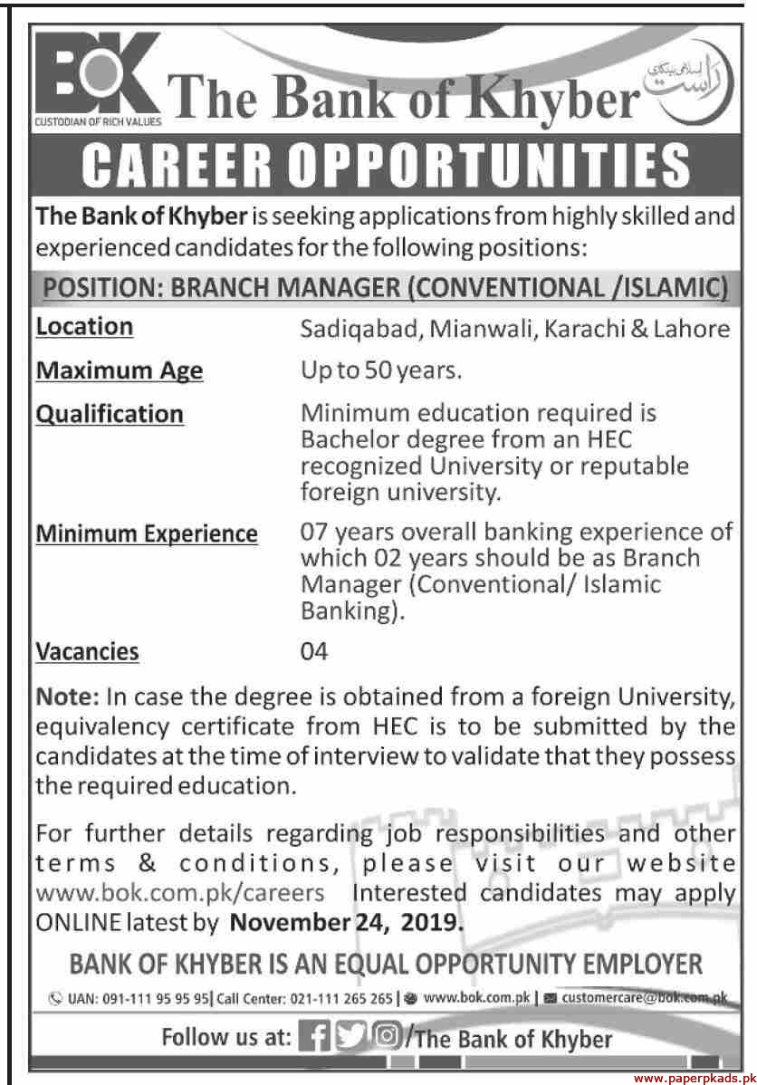 The Bank of Khyber (BoK) Jobs 2019 Latest
